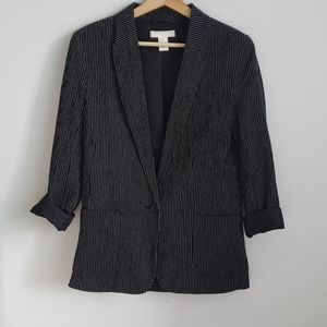 H&M Black and White Striped Blazer Size 2